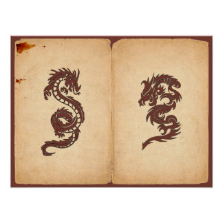 Chinese Tribal Dragon Old Aged Paper Red Orange Poster