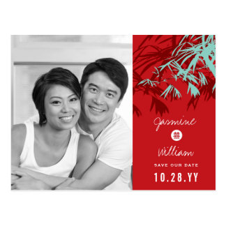 Chinese Wedding Bamboo Modern Photo Save The Date Postcard