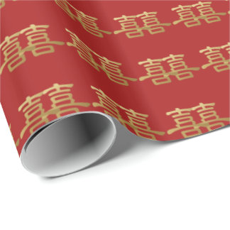 Chinese Wedding Double Happiness Red Bridal Gift Wrapping Paper
