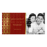 Chinese Wedding Double Happiness Red Save The Date Photo Greeting Card