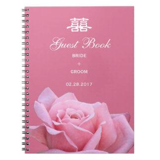 Chinese Wedding Elegant Pink Rose Guest Book