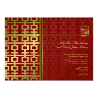 Chinese Wedding Modern Double Happiness Red Gold Card