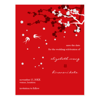 Chinese Wedding Sakura Chic Swallows Save The Date Postcard