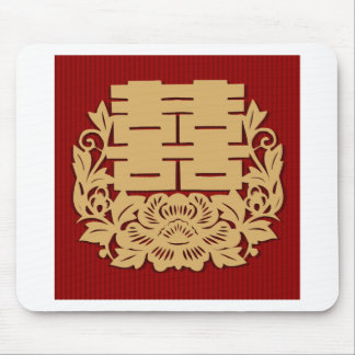 Chinese wedding with double happiness and flower mouse pad