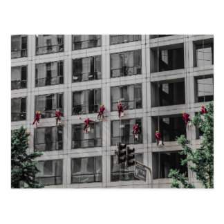 Chinese Window Washers Postcard
