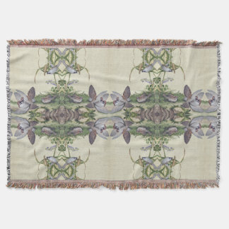 Chinese Wisteria Flowers Birds Throw Blanket
