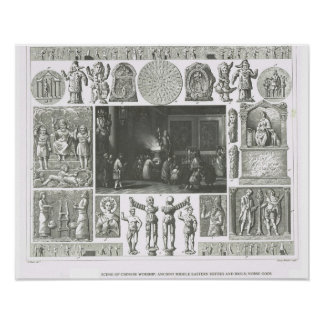 Chinese worship,Middle Eastern deities, Norse gods Poster