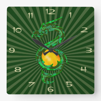 Chinese Year of the Dragon Jade Green Wall Clocks