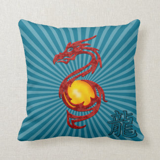 Chinese Year of the Dragon Metalic Red Throw Pillow