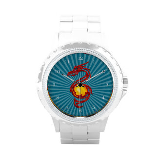 Chinese Year of the Dragon Metalic Red Wristwatches