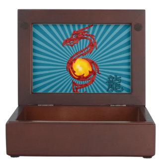 Chinese Year of the Dragon Metalic Red Keepsake Box