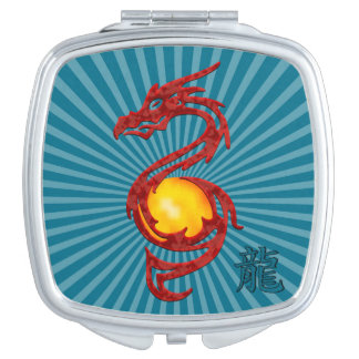 Chinese Year of the Dragon Metalic Red Makeup Mirror