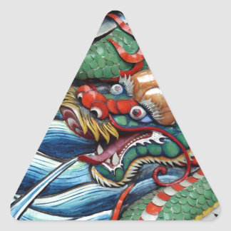 Chinese year of the dragon temple door triangle sticker