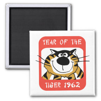 Chinese Year of The Tiger 1962 Gift Square Magnet