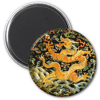 Chinese zodiac antique embroidered golden dragon 6 cm round magnet