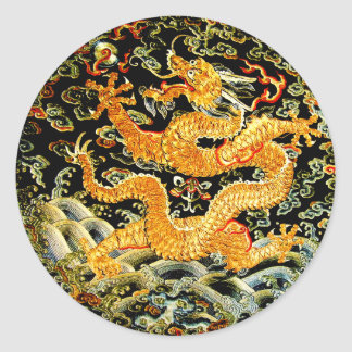 Chinese zodiac antique embroidered golden dragon classic round sticker