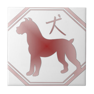 chinese zodiac dog small square tile