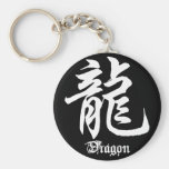 Chinese Zodiac Dragon Character Basic Round Button Key Ring