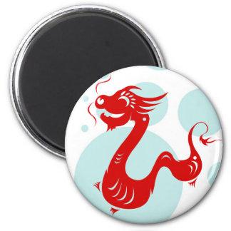 CHINESE ZODIAC DRAGON PAPERCUT ILLUSTRATION 6 CM ROUND MAGNET