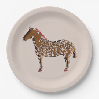 Chinese Zodiac Gingerbread Horse Paper Plate