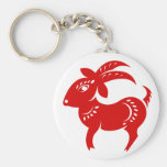 CHINESE ZODIAC GOAT PAPERCUT ILLUSTRATION BASIC ROUND BUTTON KEY RING