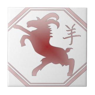 chinese zodiac goat small square tile