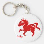 CHINESE ZODIAC HORSE PAPERCUT ILLUSTRATION BASIC ROUND BUTTON KEY RING