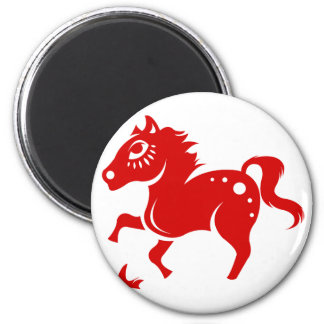 CHINESE ZODIAC HORSE PAPERCUT ILLUSTRATION 6 CM ROUND MAGNET