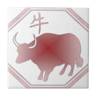 chinese zodiac ox small square tile