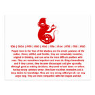 CHINESE ZODIAC PAPERCUT MONKEY ILLUSTRATION POSTCARD