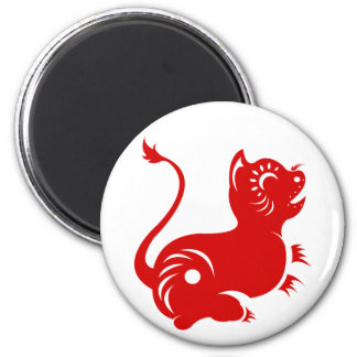 CHINESE ZODIAC PAPERCUT TIGER ILLUSTRATED 6 CM ROUND MAGNET