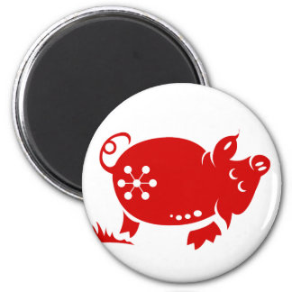 CHINESE ZODIAC PIG PAPERCUT ILLUSTRATION 6 CM ROUND MAGNET