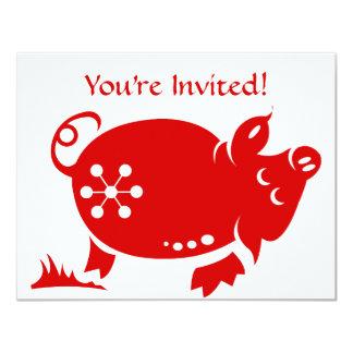 CHINESE ZODIAC PIG PAPERCUT ILLUSTRATION CARD