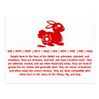 CHINESE ZODIAC RABBIT PAPERCUT ILLUSTRATION POSTCARD