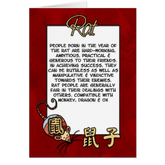 Chinese Zodiac - Rat Card