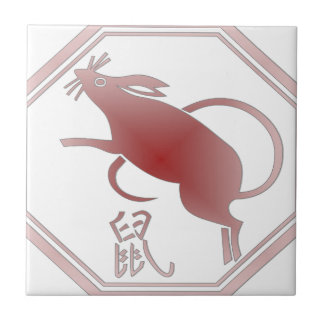 chinese zodiac rat small square tile