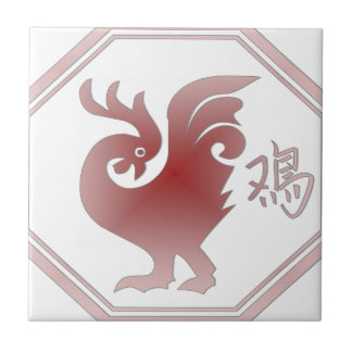 Chinese Zodiac Rooster Small Square Tile