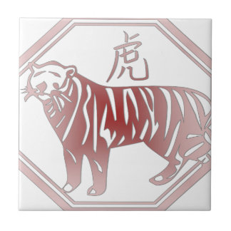 chinese zodiac tiger small square tile