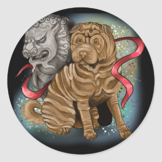 Chinese Zodiac Year of the Dog Classic Round Sticker