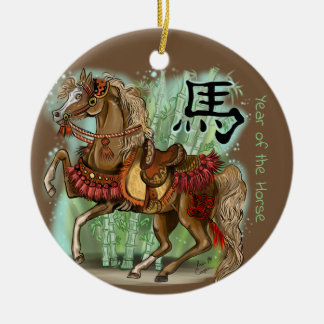 Chinese Zodiac Year of the Horse Ceramic Ornament