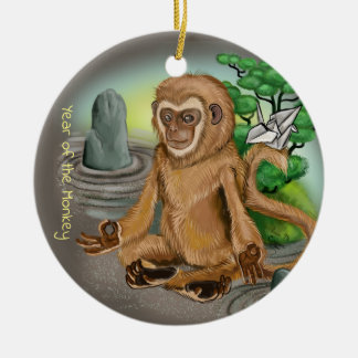 Chinese Zodiac Year of the Monkey Ceramic Ornament