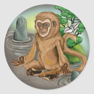 Chinese Zodiac Year of the Monkey Classic Round Sticker