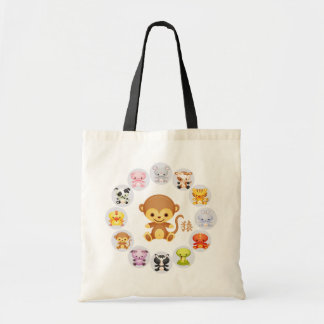 Chinese Zodiac Year of the Monkey Round Budget Tote Bag