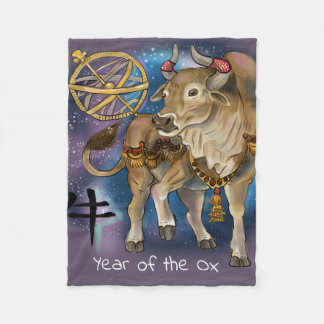 Chinese Zodiac Year of the Ox Fleece Blanket