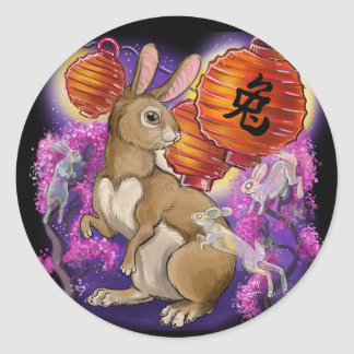 Chinese Zodiac Year of the Rabbit Classic Round Sticker
