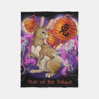 Chinese Zodiac Year of the Rabbit Fleece Blanket