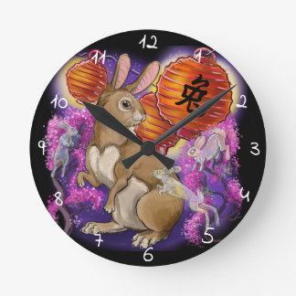 Chinese zodiac year of the rabbit round clock