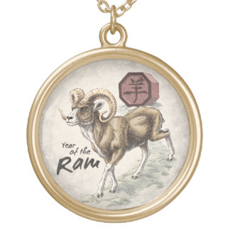 Chinese Zodiac Year of the Ram Art Gold Plated Necklace