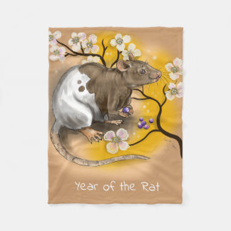 Chinese Zodiac Year of the Rat Fleece Blanket