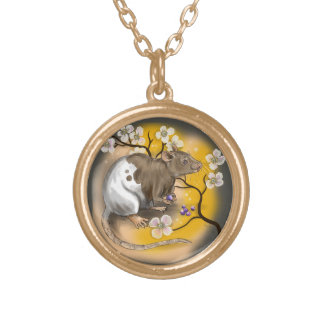 Chinese Zodiac Year of the Rat Gold Plated Necklace